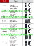 トラックの予備品の並べられた鋼鉄ブレーキ片4515、4707、4709