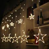 A cortina leve da estrela do diodo emissor de luz cinco ilumina luzes do diodo emissor de luz das luzes de Natal