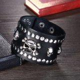 Form-Punkart-Schädel-breites echtes Ledermens-Stulpe-Armband