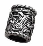 De antieke Zilveren Grote Parels van Vikingen van de Draak van de Rune van Viking voor de Parels van het Haar van de Baard