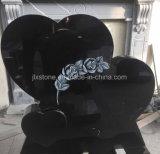 Headstone delle rose del cuore di triplo del granito del nero di getto