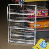 Banco di mostra a più strati diritto libero di griglia del nastro metallico della cremagliera dello spuntino della memoria del supermercato