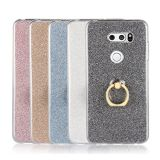 LG V30 Puts Bling Ultra Thin TPU Soft Glitter Paper Back Cover with Ring Holder Kickstand Case for LG V30