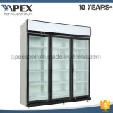 Refrigerador de cristal triple de la bebida de la energía de la puerta