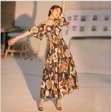 Neues Entwurfs-beiläufige Kleider langes Boho böhmisches Maxi Strand-Kleid-Frauen-Sommer-Kleid