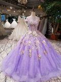 Purple Lace Appliques Beads Solid Wedding Bridal Dress