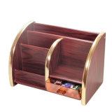 Деревянные для настольных ПК с золотым краем держатель для хранения канцелярских товаров