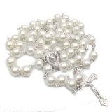 collana cattolica della traversa del rosario della perla d'imitazione di vetro di 8mm (IO-cr407)