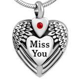 """De Juwelen van het Roestvrij staal van de Tegenhanger van de Crematie van het Hart van het Ontwerp van de Veer van de Gravure van """" misser You """""""