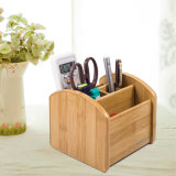 Bamboo Texture Multi Functional Storage Holder with Removable Plate Bases