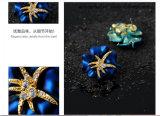 海星のダイヤモンドの耳のスタッドの青及び赤く一義的な方法イヤリング