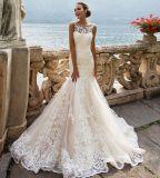 Vestidos de casamento Appliqued cor-de-rosa Rr3006 da sereia de Tulle do laço dos vestidos nupciais
