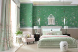 Juego de dormitorio moderno cama tela gris