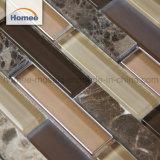 Hot Sale Cheap décorer la salle de bains en mosaïque de bloc en verre brun de bande