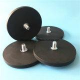 Обрезиненные неодимовыми магнитами для удержания базы резиновое покрытие черного цвета в горшочках магнитов с наружной резьбой