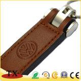 Corrente chave extravagante de couro genuíno do retângulo com logotipo do selo