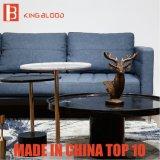 Italiano elegante do estilo do sofá do couro da sala de visitas da mobília do azul de marinha