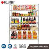 Fábrica de la estantería del estante de alambre de metal del cromo de la visualización 300kgs del departamento del almacén de alimento