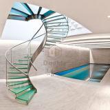 Роскошные закаленного стекла из нержавеющей стали изогнутая лестница