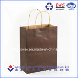 Reciclado de papel Kraft marrón Asa plana bolsas de papel impreso por la bolsa de papel automática máquina