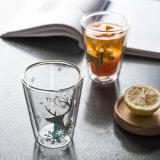 Het Drinken van de Gift van de Kop van het Glas van de Muur van de Mok van de Koffie van het Glas van Pyrex van Kerstmis de Dubbele Kop van de Koffie