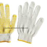 Безопасности ПВХ пунктирной хлопок перчатки, отбеленной ПВХ пунктирной стороны перчатки