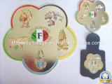 Chapado en 3D de doble Soft enamel Badge con accesorios de cuero