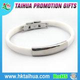 Bracelet en silicone personnalisé avec signe médical en plaque de boucle en acier inoxydable