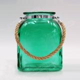 Square transparente de vidrio colorido linterna con asa de cuerda