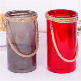 Цветные стеклянные вазы с джут трос ручки
