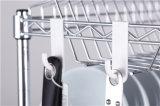Cremalheira do suporte do prato da cozinha do fio de metal do cromo de 3 séries com patente