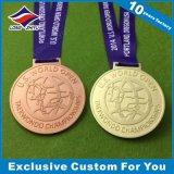 Medalha de metal personalizada Medalha de esporte Medalhão de forma cruzada com fita