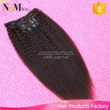 Clip recto en extensiones del pelo, clip recto de Yaki de la Virgen india de Yaki del pelo humano del 100% en las extensiones, 7PCS/Set