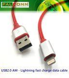 USB2.0 al cavo di illuminazione, carica rapida, materiale: Coperture della lega di alluminio, cavo di nylon per il iPhone, iPad