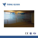 4-15mm Sandblasted vidrio esmerilado de vidrio de vidrio grabado ácido para el aseo con ducha/oficina/edificio de la puerta de cristal