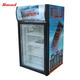 Refrigerador vertical de la visualización, escaparate, refrigerador con la lámpara superior