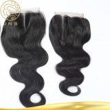 バージンのブラジルの人体の波の前担保付きの自然な毛の閉鎖