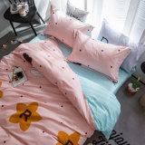 100 Fios de microfibra de estilo europeu conjunto de roupa de cama personalizada