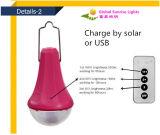 Bulbo solar do diodo emissor de luz, lâmpada solar do diodo emissor de luz, também como uma fonte de alimentação móvel, usada para Activies Home ou ao ar livre