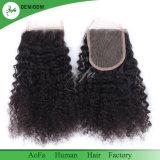 Seidiges Narural schwarzes Menschenhaar Remy indisches Haar-Schliessen