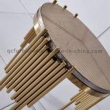 2016 Projeto Speacial Mesa dourada de aço inoxidável Mesa lateral de madeira