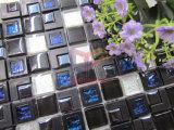Negro brillante mezcla de mosaico de vidrio y plástico para pared (CSR089)