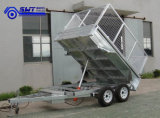 Quailty Galvanized Double Wheels Hydraulic Tipping Trailer mit Cage (HTT-105)