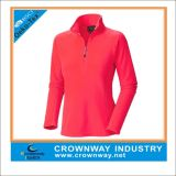 Mujeres el 1/2 Zip Red Plus Size Active Tops con Logo