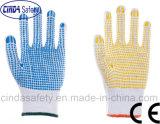 Перчатки хлопка работы техники безопасности на производстве работы многоточий PVC защитные