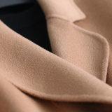 벨트 중앙 긴 재킷 간결 외투를 가진 숙녀 형식 모직 Raglan 소매