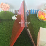 4mm Large Bevel Red Glass Candle Holder