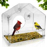 Grande alimentador acrílico do pássaro do indicador com bandeja removível