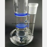 Blauer doppelter Bienenwabe-Filterrohr-Öl-Wiederanlauf-Glaspfeife