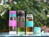 El mejor precio taza de agua de botellas de vidrio con coloridos titular de la funda de silicona